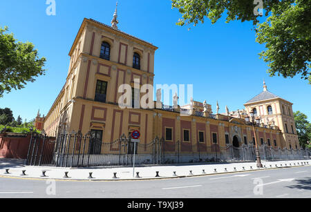 Baroque facade of the Palace of San Telmo in Seville at sunny day , Spain. - Stock Photo