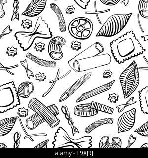 seamless pattern with italian macaroni of different kinds. Black hand draw on white background. Vector illustration - Stock Photo