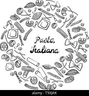 Round frame with italian macaroni of different kinds. Black hand draw on white background. Vector illustration - Stock Photo