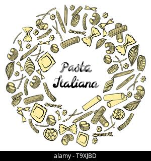 Round frame with italian macaroni of different kinds. Colored hand draw on white background. Vector illustration - Stock Photo