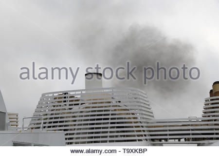 Brittany Ferry - Normandie diesel fumes, smoke as the engines start. - Stock Photo