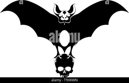 Bat holds a scull in the claws isolated illustration. Flying bat holds a scull in the claws black on white illustration - Stock Photo