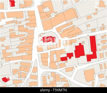 Imaginary cadastral map of an area with buildings and streets - Stock Photo