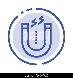 Magnet, Attract, Attracting, Tool Blue Dotted Line Line Icon - Stock Photo