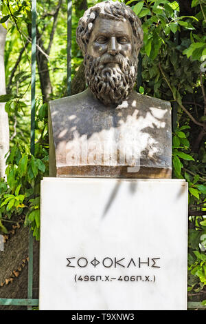 Bust of tragic poet Sophocles in Athens, Greece - Stock Photo