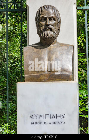 Bust of tragic poet Euripides in Athens. Greece - Stock Photo