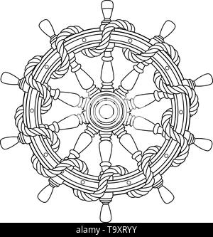vector black, white rope boat handwheel, ship wheel helm. - Stock Photo