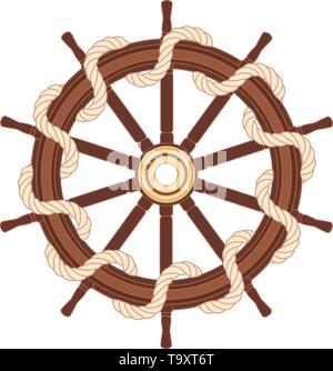 vector boat rope handwheel, ship wheel helm. Sea, ocean symbol - Stock Photo