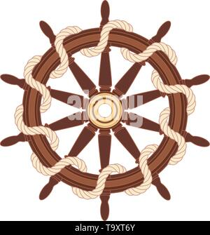 vector flat outline boat rope handwheel symbol - Stock Photo