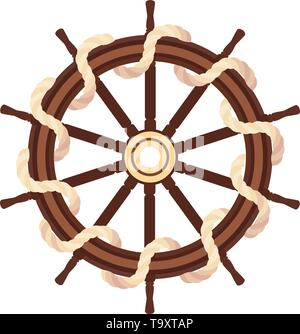 vector flat boat rope handwheel, ship wheel helm. Sea, ocean symbol - Stock Photo