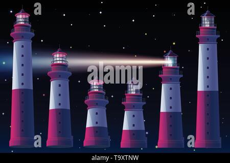 vector Lighthouse, light house, beacon maritime tower set - Stock Photo