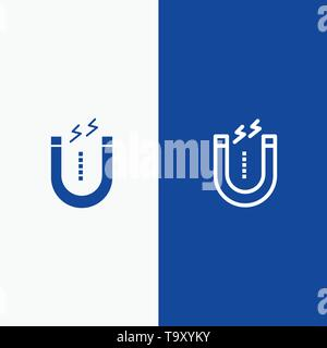 Magnet, Attract, Attracting, Tool Line and Glyph Solid icon Blue banner - Stock Photo