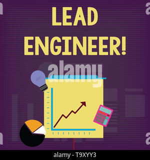 Handwriting text Lead Engineer. Conceptual photo control his team and analysisage phases of the project in hand Investment Icons of Pie and Line Chart - Stock Photo