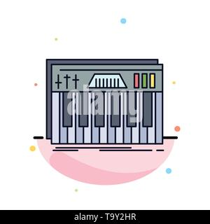 Controller, keyboard, keys, midi, sound Flat Color Icon Vector Stock