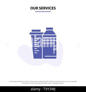Our Services Bottle, Drink, Energy, Shaker, Sport Solid Glyph Icon Web card Template - Stock Photo