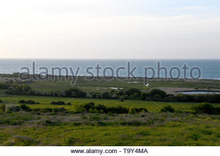 The site and surrounding areas of the British Normandy Memorial site in Ver-sur-Mer in Normandy, France overlooking Gold Beach - Stock Photo