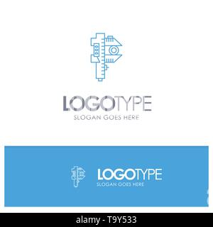 Measuring, Accuracy, Measure, Small, Tiny Blue outLine Logo with place for tagline - Stock Photo