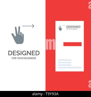 Fingers, Gesture, Right Grey Logo Design and Business Card Template - Stock Photo