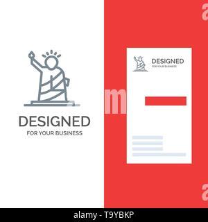 Landmarks, Liberty, Of, Statue, Usa Grey Logo Design and Business Card Template - Stock Photo