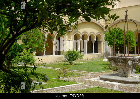 The Santa Sofia cloister in Benevento is a romanesque masterpiece and has a peaceful garden that you can see while visiting the 'Museo del Sannio'. - Stock Photo