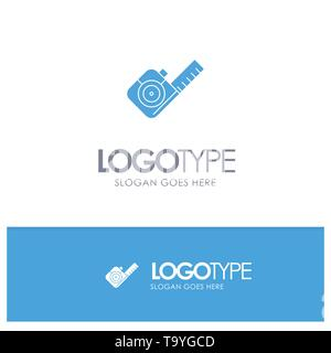 Measure, Measuring, Tape, Tool Blue Solid Logo with place for tagline - Stock Photo