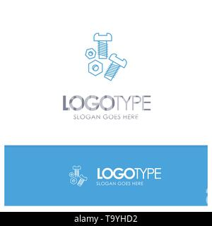 Bolt, Nut, Screw, Tools Blue outLine Logo with place for tagline - Stock Photo