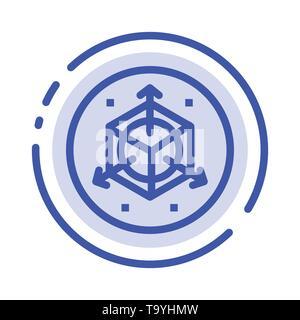 Scale, Modification, Design, 3d Blue Dotted Line Line Icon - Stock Photo