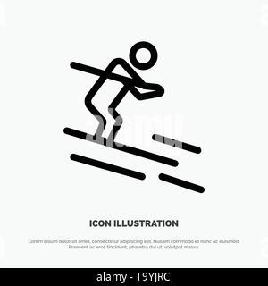 Activity, Ski, Skiing, Sportsman Line Icon Vector - Stock Photo
