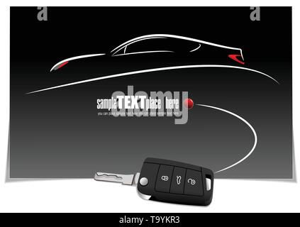 Sketch of silhouette car on white paper with ignition key image. Vector illustration - Stock Photo