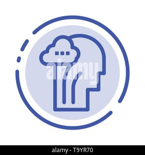 Activity, Brain, Mind, Head Blue Dotted Line Line Icon - Stock Photo