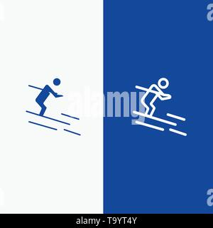Activity, Ski, Skiing, Sportsman Line and Glyph Solid icon Blue banner Line and Glyph Solid icon Blue banner - Stock Photo