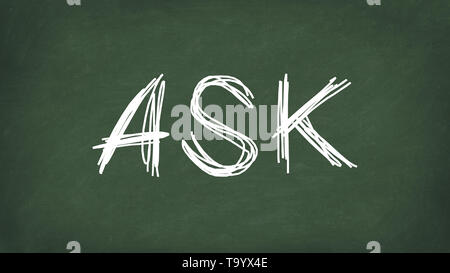 Ask word concept. ASK written on the chalkboard. Use for cover, banner, blog. - Stock Photo