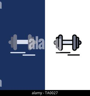 Dumbbell, Fitness, Sport, Motivation  Icons. Flat and Line Filled Icon Set Vector Blue Background - Stock Photo
