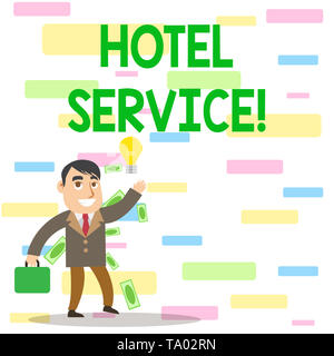 Writing note showing Hotel Service. Business concept for Providing guests warm accommodation and other services Successful Businessman Generating Idea - Stock Photo