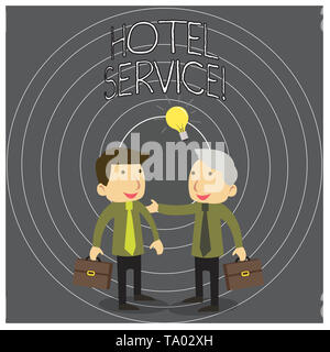 Writing note showing Hotel Service. Business concept for Providing guests warm accommodation and other services Two White Businessmen Colleagues with  - Stock Photo