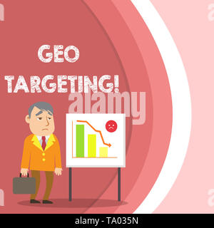 Conceptual hand writing showing Geo Targeting. Concept meaning method of determining the geolocation of a website visitor Businessman with Brief Case  - Stock Photo