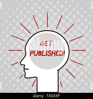 Writing note showing Get Published. Business concept for make material and literature available for the public to view Outline Silhouette Human Head S - Stock Photo