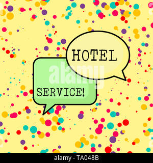 Writing note showing Hotel Service. Business concept for Providing guests warm accommodation and other services Pair of Overlapping Blank Speech Bubbl - Stock Photo