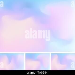 Set of abstract fluid or liquid gradient blue and pink mesh background. Stylish holographic backdrop with mesh 90s, 80s retro style. You can use for t - Stock Photo