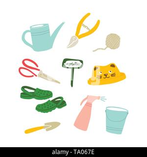 Vector illustration of garden tools in Doodle style. Set of garden symbols, things, objects. Design of postcards, posters and web sites. - Stock Photo