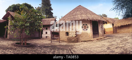 PANAROMIC VIEW OF A VILLAGE WITH TRADITIONAL MUD HUTS, ANDHRA PRADESH - Stock Photo