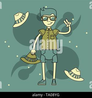Cool hipster guy cartoon - Stock Photo