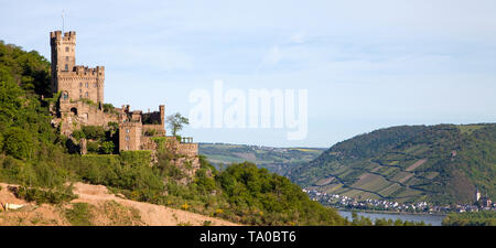 Sooneck castle at Niederheimbach, Unesco world heritage site, Upper Middle Rhine Valley, Rhineland-Palatinate, Germany - Stock Photo