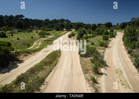 Sandy path leading to the Cabo Polonio National Park in Uruguay, 4x4 trip - Stock Photo