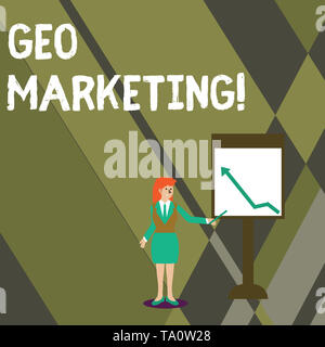 Conceptual hand writing showing Geo Marketing. Concept meaning the geolocated marketing techniques to get new clients Woman Holding Stick Pointing to  - Stock Photo