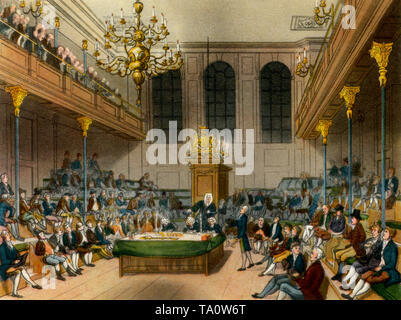 House of Commons, c1808-1810. A print from 'The Microcosm of London', by William Henry Pyne (1770-1843). Artists: Thomas Rowlandson (1756 – 1827) and Auguste Charles Pugin (1762–1832). The medieval Commons Chamber seen here prior to its destruction by fire in 1834. The new Palace of Westminster was partly designed by Auguste Charles Pugin's son, Augustus Welby Pugin (1812-1852). - Stock Photo
