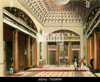 The Entrance Hall, Carlton House, c1808-1810. A print from 'The Microcosm of London', by William Henry Pyne (1770-1843). Artists: Thomas Rowlandson (1756-1827) and Auguste Charles Pugin (1762–1832). Carlton House is best known as the town residence of the Prince Regent later King George IV (1762–1830). Its principal architect was Henry Holland (1745–1806). - Stock Photo