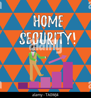 Handwriting text writing Home Security. Conceptual photo A system that help protect your home from unwanted intruders Smiling Businessman Climbing Col - Stock Photo