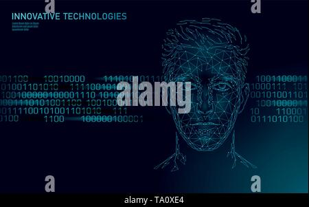 Low poly male human face biometric identification. AI artificial intelligence assistant system concept. Personal online chatbot help center innovation - Stock Photo