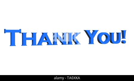 Thank You - 3D text in blue -  isolated on white background - 3D illustration - Stock Photo